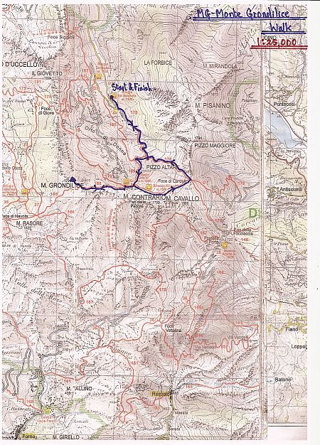 Tuscany Mountain Walks-Apuane Alps-Monte Grondilice from Rifugio Val Serenaia-Walk Map